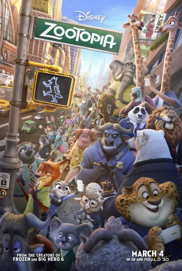 "This is placed in the town ""zootopia"" while most of the characters featured as there walling down the street, this never happens in the movie but I love this movie poster."